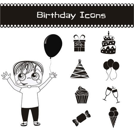 birhday icons over white background vector illustration Stock Vector - 16476843