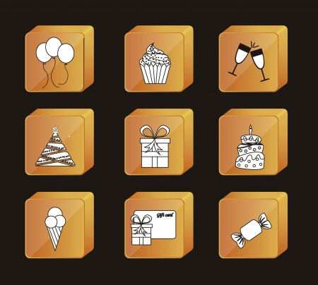 birhday icons over black background vector illustration Stock Vector - 16476836