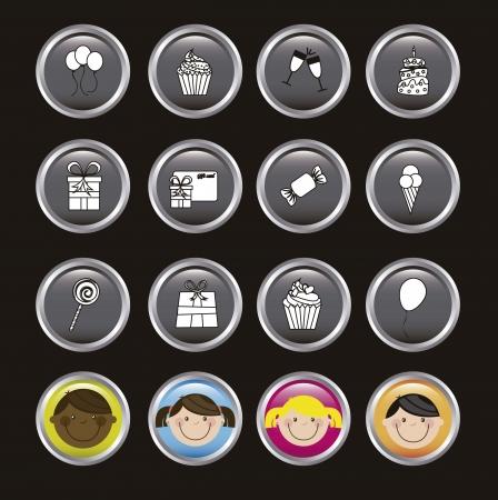 birhday icons over black background vector illustration Stock Vector - 16477029
