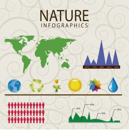 infographics weather and nature over gray background Vector