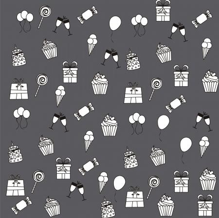 birhday icons over gray background vector illustration Stock Vector - 16477334