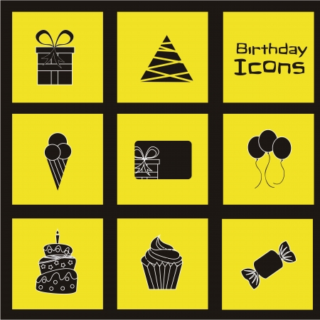 birhday icons over yellow background vector illustration Stock Vector - 16476752
