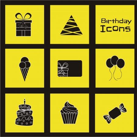 birhday icons over yellow background vector illustration Stock Vector - 16476752