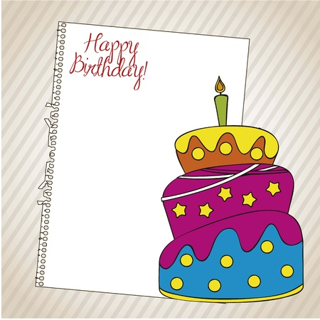 Birthday card with a cake and paper over white background Vector
