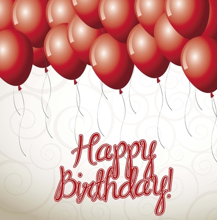 Happy birthday card with balloon over white background vector illustration Stock Vector - 16477338