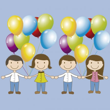 Birthday card with children and balloon over blue background  Stock Vector - 16477339