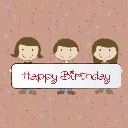 Birthday card with happy children over red background Vector