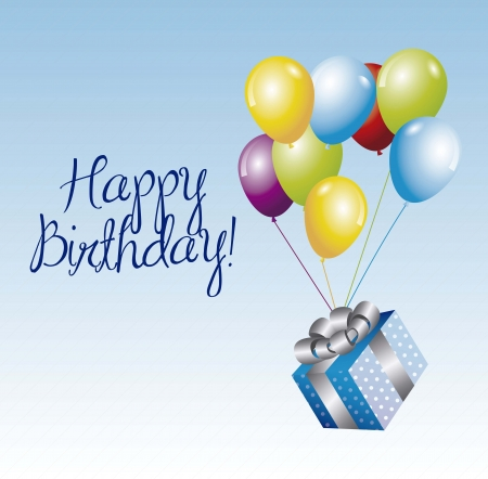 Birthday Card with a gift and balloon over sky background Stock Vector - 16477336