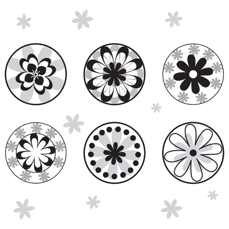 Black and white flowers with white background. vector illustration Stock Vector - 16476628