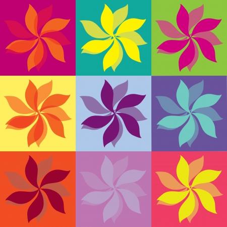 Flowers Icons, pop art colors, vector illustration Ilustração