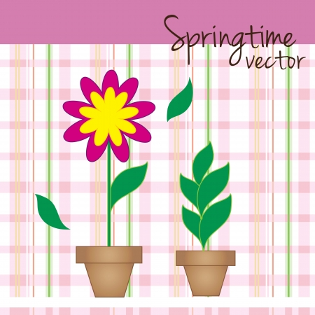 Flower pots with checkered background vector illustration Stock Vector - 16476634