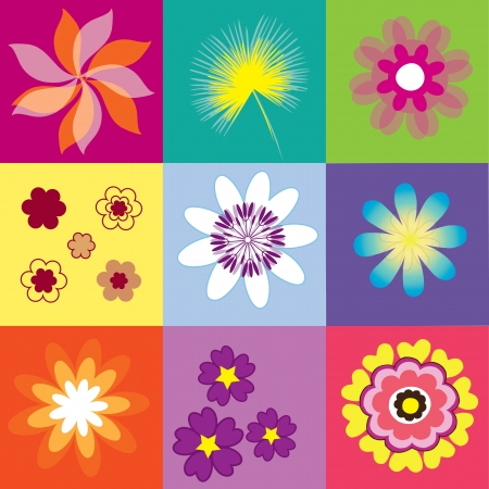 collection of pop art flowers vector illustration