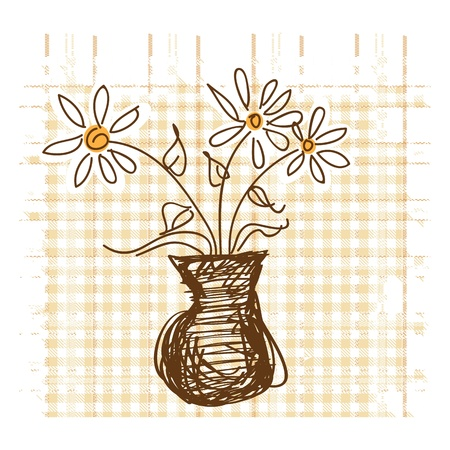 Daisies in vase on checkered background vector illustration Stock Vector - 16477332