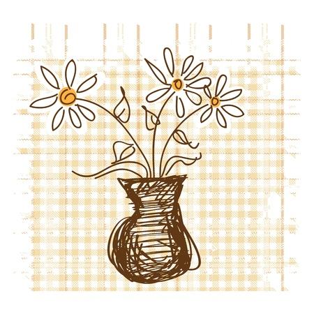 houseplant: Daisies in vase on checkered background vector illustration Illustration