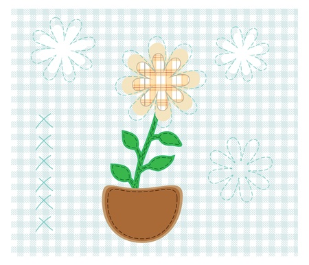 Fabric flower,  on blue checkered background vector illustration Stock Vector - 16477333