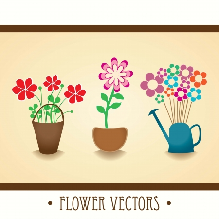 houseplants: vintage collection of houseplants with flowers vector illustration