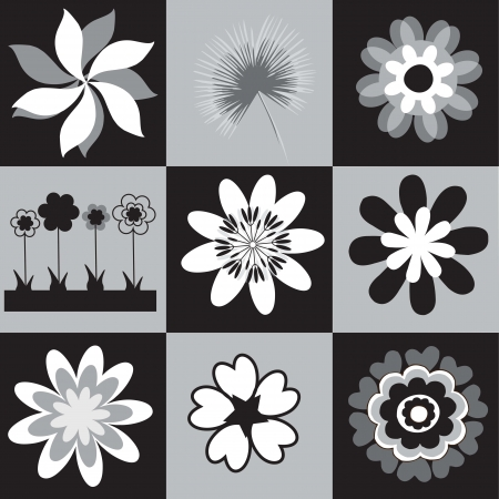 collection of black and white silhouettes flowers vector illustration Stock Vector - 16476641