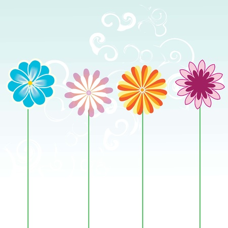 different colored flowers on blue sky background Stock Vector - 16476744