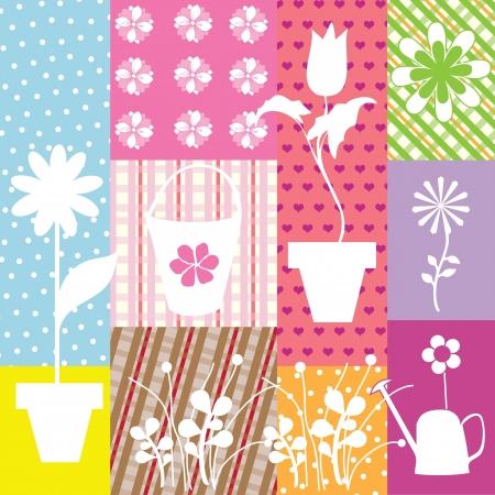 applique flower: applique background with white flowers vector illustration Illustration