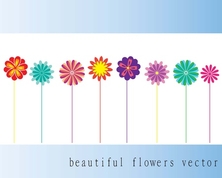 small colorful flowers on white background vector Stock Vector - 16476587