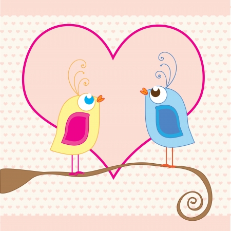 birds in love with background of pink hearts Stock Vector - 16476757