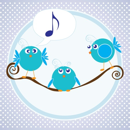 Three little birds talking with blue background Vector