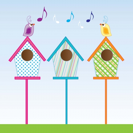 bird house: Small birdhouses of various colors vector illustration