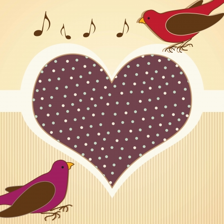 naturalist: vintage birds with giant heart vector illustration