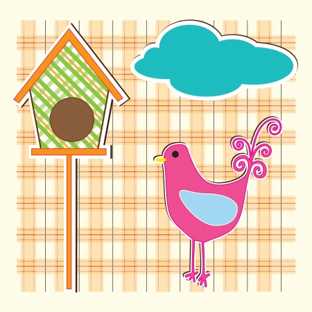 Art country hen with orange checkered background Vector