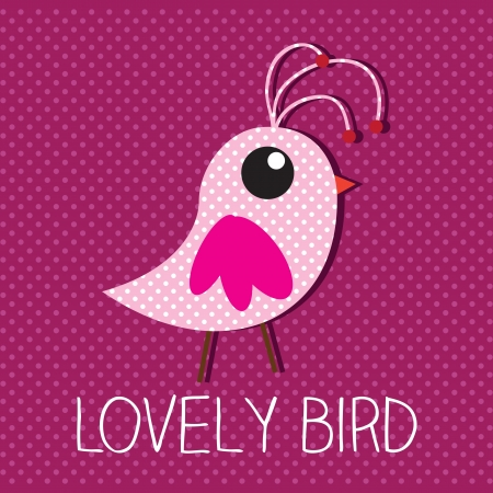 Lovely bird with pink background vector illustration Vector