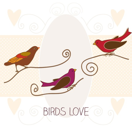 Birds love in vintage colours, vector illustration Stock Vector - 16476829