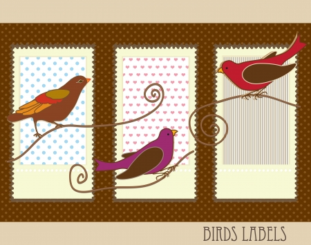 Birds Labels with vintage colours, vector illustration Stock Vector - 16476831