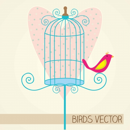 small bird with blue cage and heart background Vector