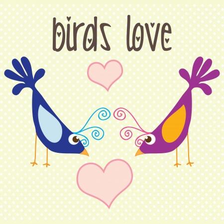 ornithological: Colorful Birds love, vintage background, vector illustration Illustration