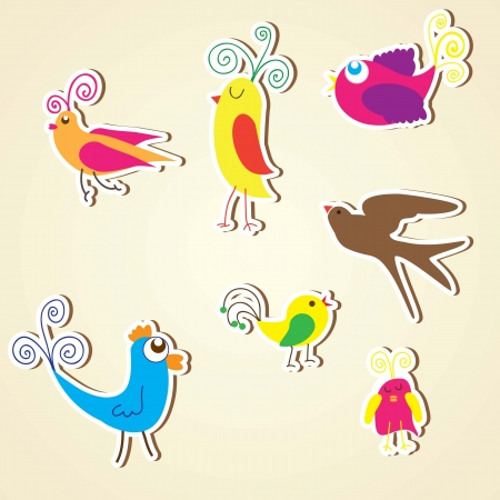 Birds icons colorful collection set, vectors illustrations. Vector
