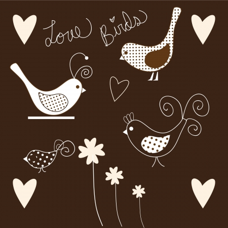 Cute Birds icons pink and white, collection set. Stock Vector - 16476758
