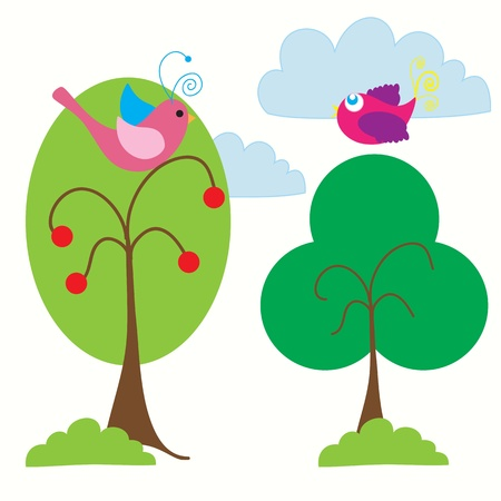 Spring landscape with beautiful colored birds, vector illustration.   Vector