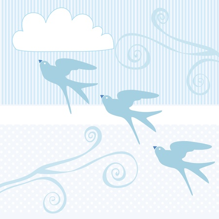 blue birds flying in the blue sky. Vector