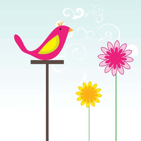 Pink bird with flowers in spring, vector illustration. Vector