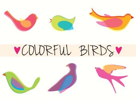 veréb: Színes madarak ikonok, gyűjtés szett, vektorok illusztráció.