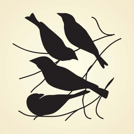 Black bird silhouettes with vintage background, vector illustration. Vector