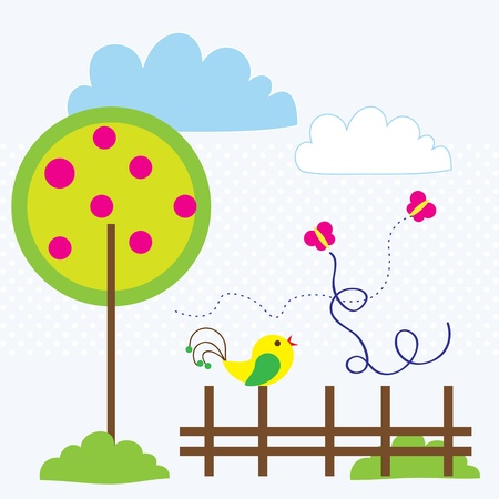 Spring landscape with beautiful colored bird and butterfly. Vector