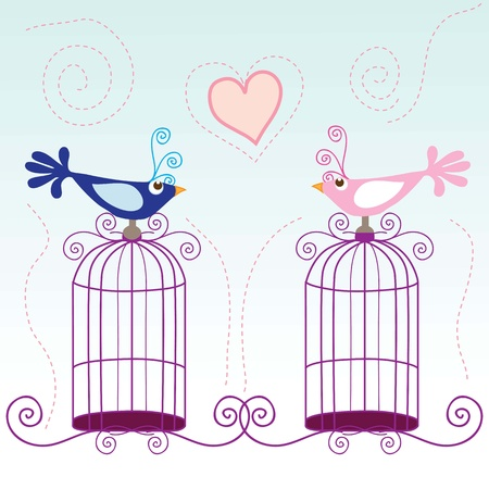 multiple house: Small birds singing about love, vector illustration.