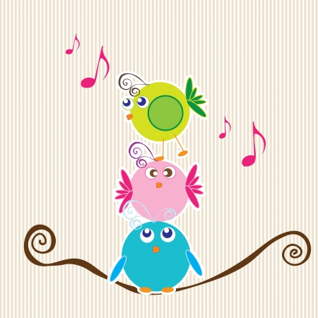 Three little birds talking with stripe background. Vector