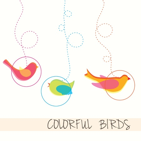 Colorful Birds icons, collection set, vectors illustration. Vector