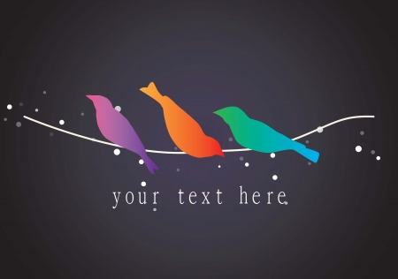 tending: Colorful birds icons with black background, vector illustration.