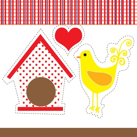 Art country hen, with red and white checkered background. Vector