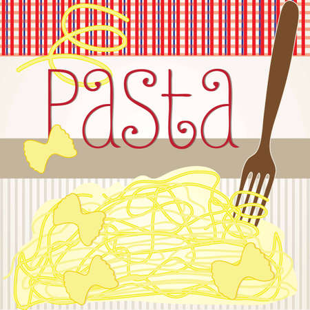 Spaghetti on striped vintage background vector illustration Vector