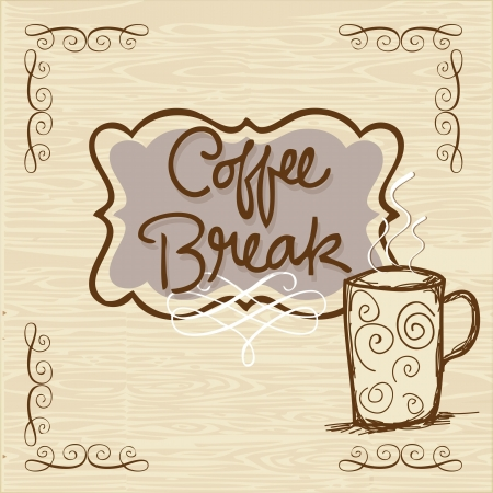 coffe break: Coffe Break banner with wood background vector illustration