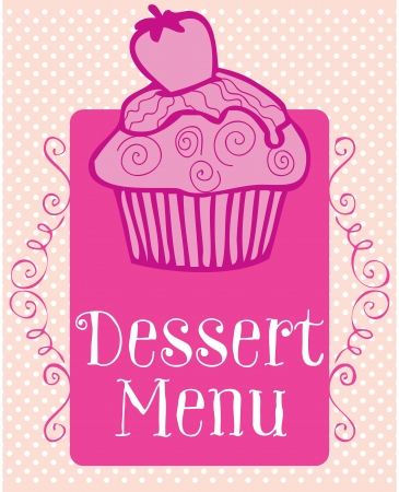 Pink cupcake on dotted background vector illustration. Vector